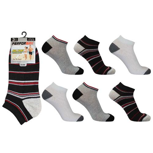 Mens Performax Trainer Socks Stripes & Coloured Heel