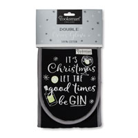 Let the Good Times Be Gin Christmas Double Oven Glove