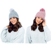 Ladies Diagonal Knit Pom Pom Hat