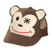 Childs Baseball Hat Monkey Design Mesh Back