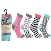 Ladies 3 Pack Exquisite Stripe And Spots Socks