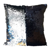 Sequin Filled Cushion Black & Silver
