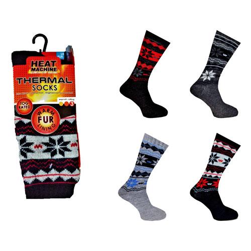 Mens Heat Machine Thermal Slipper Socks Fairisle Carton Price