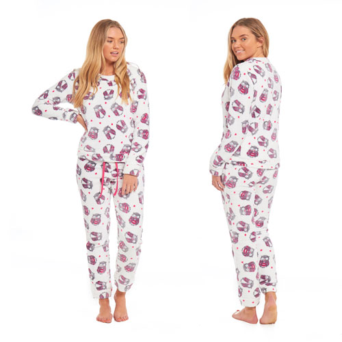 Ladies Owl Fleece Pyjama Set