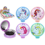 Unicorn Folding Brush With Compact Mirror