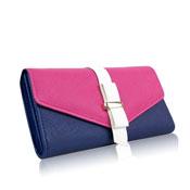 Ladies Colour Block Long Purse Blue/Pink