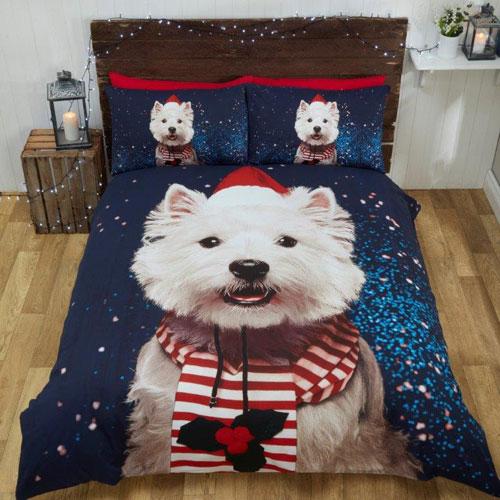 Christmas Westie Dog Duvet Set