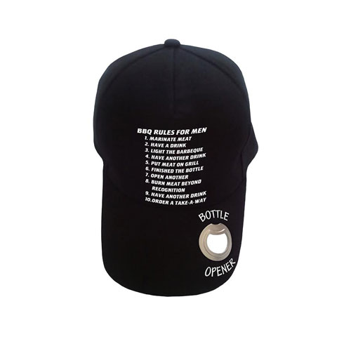Baseball Cap with Bottle Opener BBQ Rules
