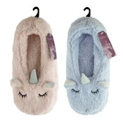 Ladies Soft Fleece Unicorn Slipper Sock
