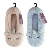 Ladies Soft Fleece Unicorn Slippers Sock