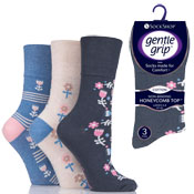 Ladies Gentle Grip Socks Flower