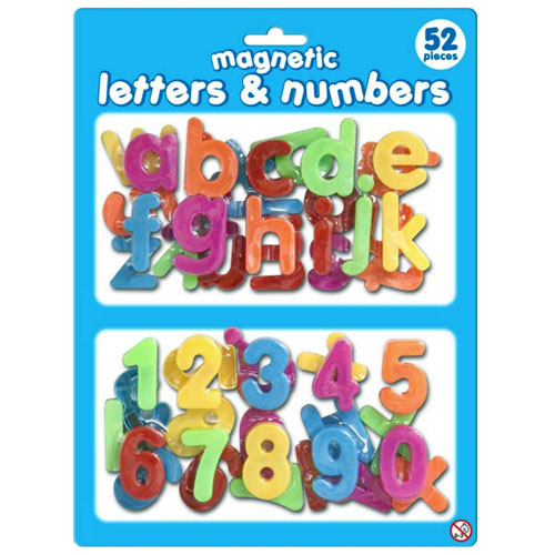 Magnetic Plastic Letters & Numbers 52 Pieces