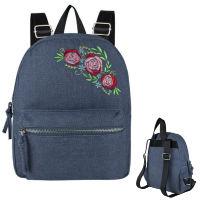 Embroidered Flowers Denim Backpack
