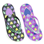Girls Heart Print Flip Flops With Printed Strap