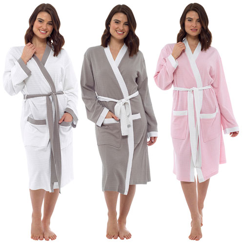Ladies Contrast Stoll Waffle Robe