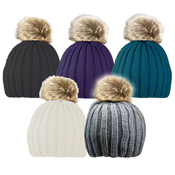 Ladies Ribbed Hat with Faux Fur Pom Pom