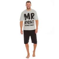 Mens Slogan Jersey Top And Shorts Pyjama Set