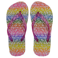 Girls Rainbow Butterfly Flip Flops