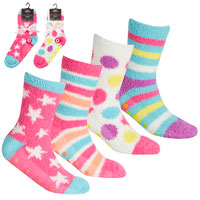 Girls 2 Pack Cosy Socks With Grippers