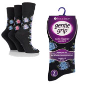 Ladies Gentle Grip Printed Flowers Socks