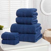 Natural Cotton Camden Hand Towels Navy