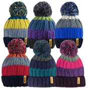 Adults Striped Knitted Bobble Hat With Pom Pom