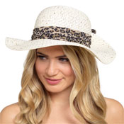 Ladies Sequin Hat With Leopard Print Ribbon