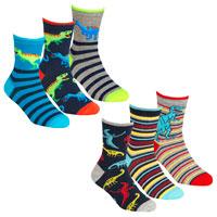 Boys 3 Pack Socks Dinosaur
