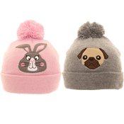 Girls Pug/Bunny Bobble Hat
