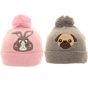Girls Pug/Bunny Bobble Hat