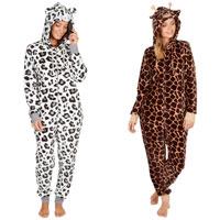 Ladies Giraffe/Leopard Print Onezee with Hood