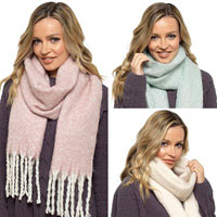 Ladies Brushed Scarf with Tassels