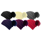 Ladies Horiz Rib Hat with Detachable Faux Fur Bobble