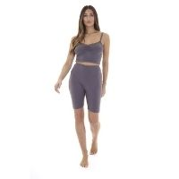 Ladies Vest And Cycling Shorts Set Grey