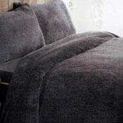 Super Soft Teddy Fleece Duvet Set Charcoal