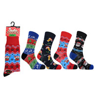 Mens Christmas Santa Socks Novelty