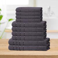 Bear & Panda 10 Piece Cotton Towel Bale Grey