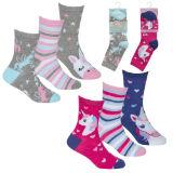 Girls 3 Pack Design Unicorn Socks