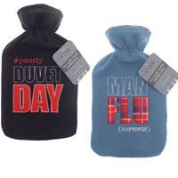 Hot Water Bottle with Fleece Cover Novelty Slogan