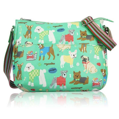 Mixed Dog Print Multi Purpose Bag Green