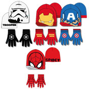 Assorted Heroes Childrens Hat & Gloves Set