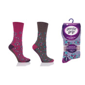 Ladies Gentle Grip Socks Floral Pinks