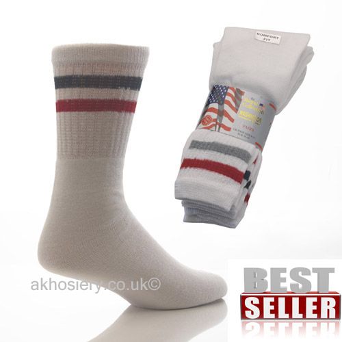 Mens Washington Sport Socks White 3 Pack