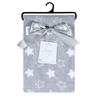 Baby Blanket Printed Stars Grey
