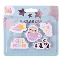 Girl Power Novelty Erasers 5 Pack