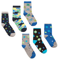 Boys 3 Pack Space And Game Design Socks