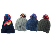 Mens Heat Machine Pom Pom Hat with Lining