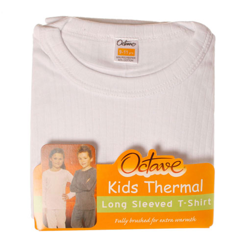 Kids Thermal Underwear T Shirt Long Sleeved White