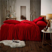 Super Soft Teddy Feel Duvet Set Red