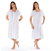 Ladies Short Sleeve Nightdress with Button Front